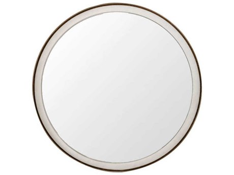 Gabby Fritz White Seagrass & Antique Brass 36'' Wide Round Wall Mirror GASCH151480