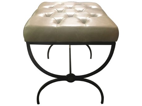 Gabby Home Galvin Gray Leather, Textured black metal, Brushed brass Accent Stool GASCH161205