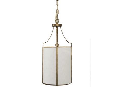 Gabby Home Ida Antique Gold, White Linen, Acrylic Diffuser 9'' Wide Mini Pendants GASCH158350