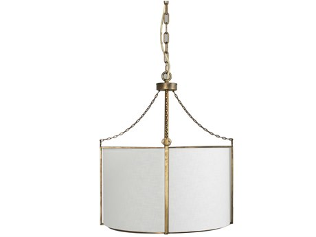 Gabby Home Ivan Antique Gold, White Linen, Acrylic Diffuser 20'' Wide Pendant