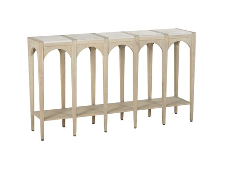 Gabby Jonas Cloud White Marble & Whitewashed Oak 58''W x 13''D Rectangular Console Table GASCH155885