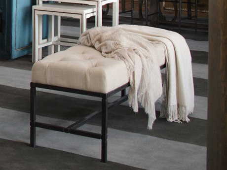 Gabby Joseph Cream & Black Tufted Accent Bench GASCH240155