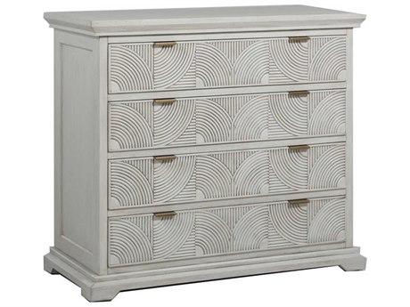 Gabby Home Kai Sesame White, Brass 4 Drawers Dresser