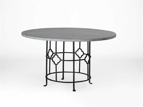 Gabby King Antique White Wash & Black Iron 54'' Wide Round Dining Table GASCH290265