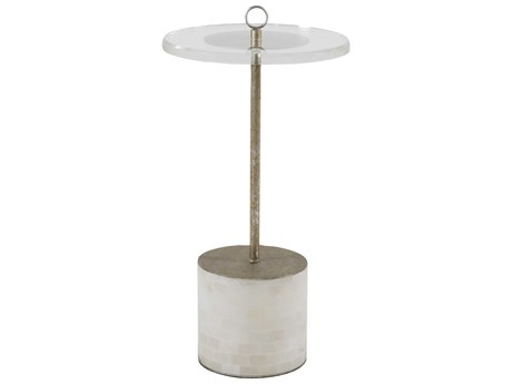 Gabby Lexi Clear Acrylic with Champagne Tild Alabaster 14'' Wide Round Pedestal Table GASCH153415
