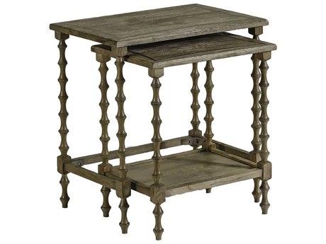 Gabby Lionel Natural Oak with Antique Brass Inlay 24''W x 16''D Rectangular Nesting Table GASCH151305
