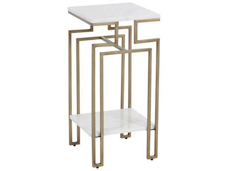 Gabby Home Louie Light Bronze Gold, White Marble 12'' Wide Square End Table GASCH163335
