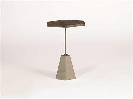 Gabby Lucinda Antique Gold & Cream Marble 13'' Wide Hexagon Accent Pedestal Table GASCH270275