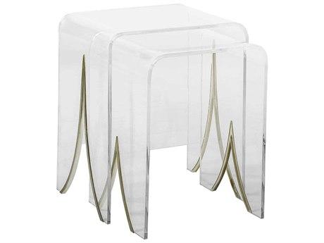 Gabby Magnolia Clear Acrylic & Antique Brass 20''W x 16''D Rectangular Nesting Table GASCH151120