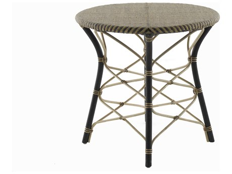 Gabby Home Malia Natural and Black Rattan 30'' Wide Round End Table
