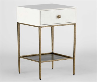 Gabby May Faux Bone & Brushed Brass 18'' Wide Square Nightstand GASCH152135