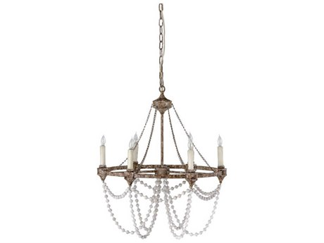 Gabby Nadia Rust with Beige Washed Beads Six-Light 28'' Wide Chandelier