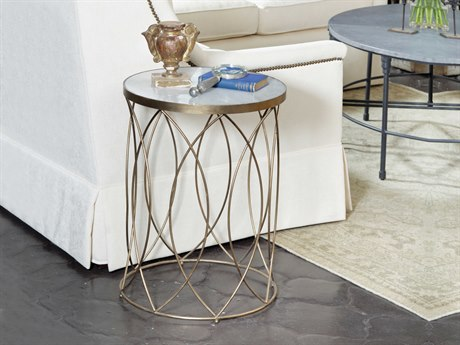 Gabby Nicole White Marble & Antique Gold 18'' Wide Round Drum Table GASCH290350