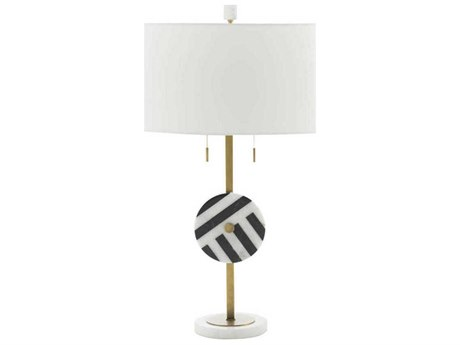 Gabby Piper Black & White Marble with Antique Brass Two-Light Buffet Lamp GASCH158345