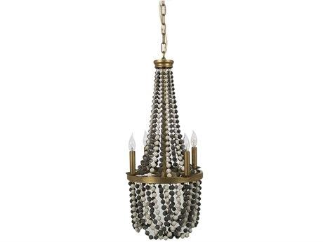 Gabby Home Presley Antique Gold Leaf, Matte Black, White 15'' Wide Mini Chandelier GASCH158380