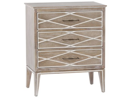 Gabby Home Natural White Cerused Oak / Porcelain Antique Brass Three-Drawer Tess Nightstand