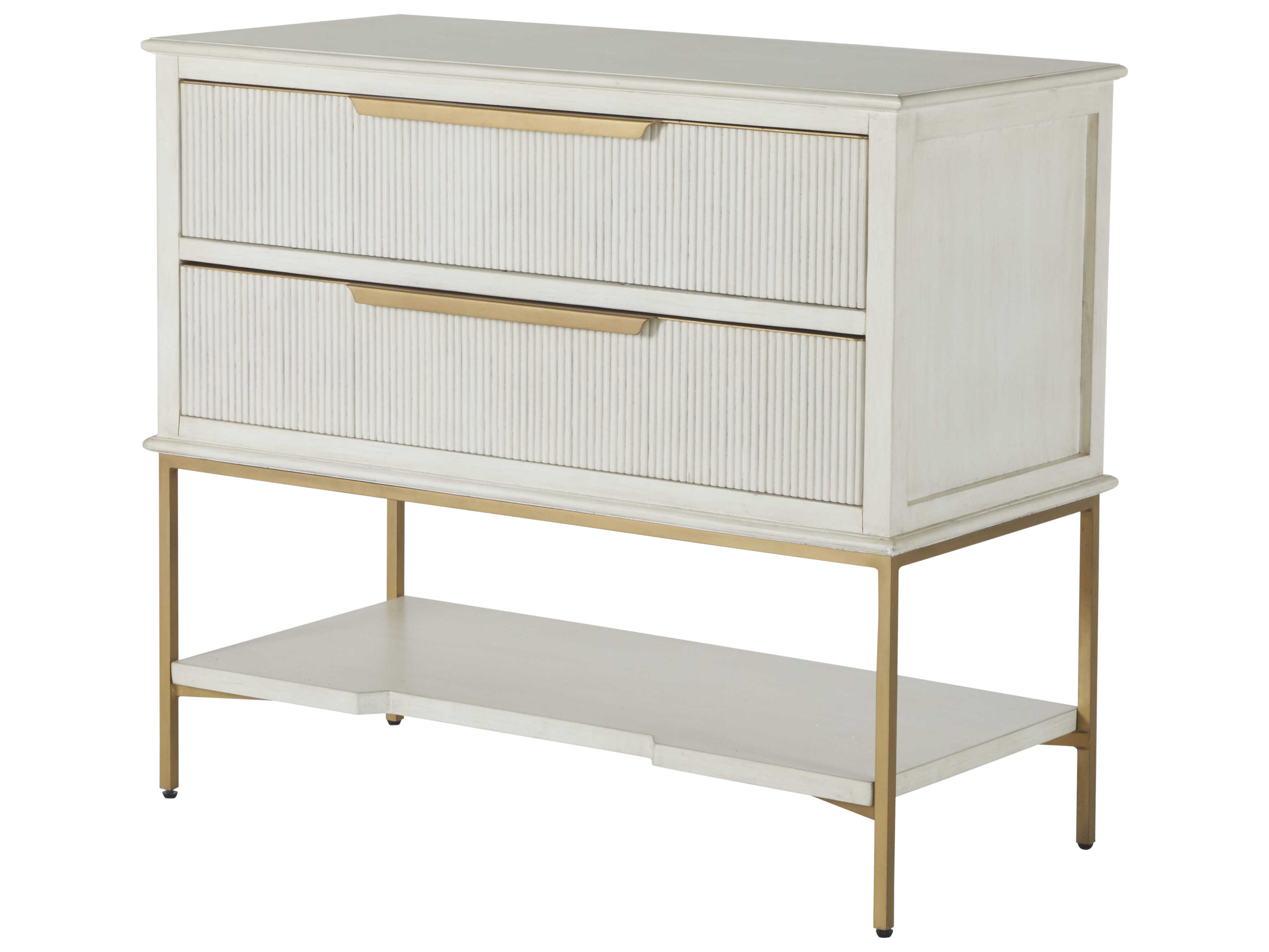 Gabby Home Sesame White Stain Gold Two Drawer Riggs Nightstand Gasch165070
