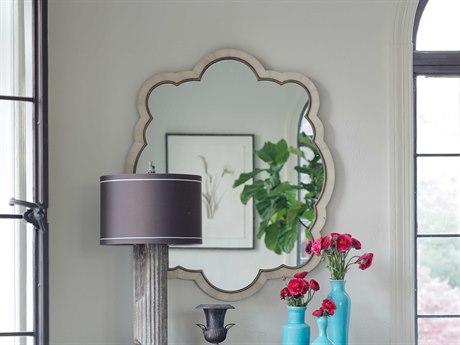 Gabby Rita Polished White Horn & Antique Brass 32''W x 39''H Wall Mirror