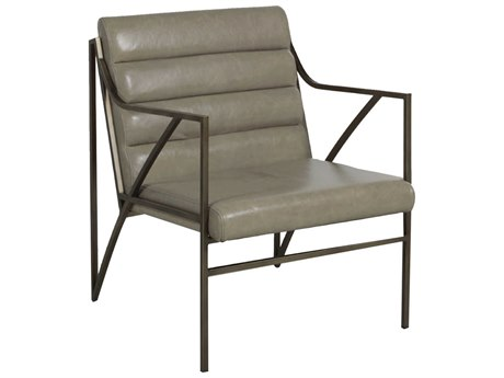 Gabby Home Ruby Gray Leather, Light bronze metal Accent Chair GASCH161180