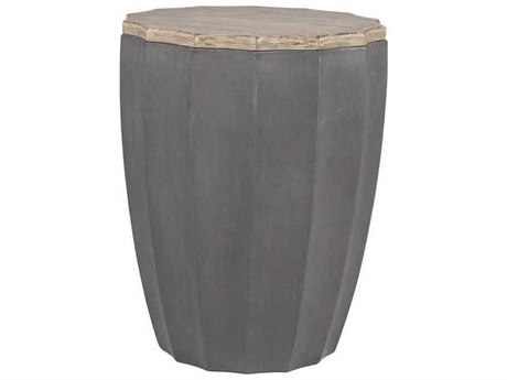 Gabby Rue Natural Distressed Gray & Dark Concrete 20'' Wide Round Side Drum Table