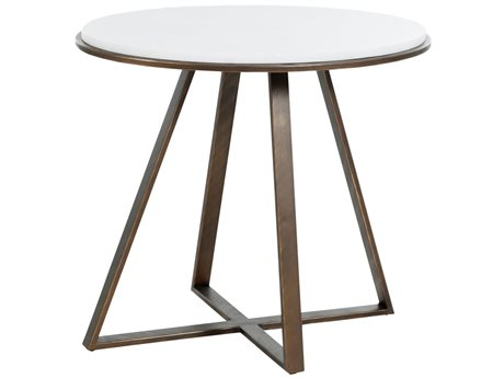 Gabby Home Rylan Brushed Copper, White Marble 28'' Wide Oval End Table GASCH163375