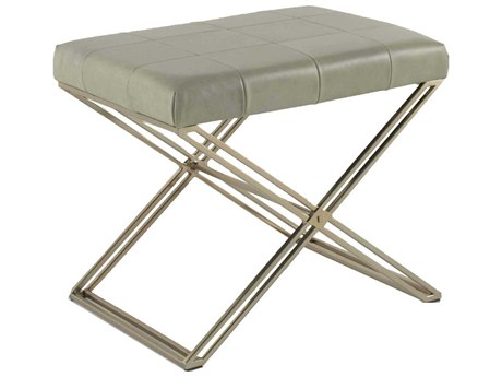 Gabby Home Sage Light Gray Leather, Brushed Gold Accent Stool GASCH158410