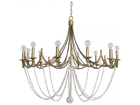 Gabby Sandra Antique Gold with Antique White 12-Light 40'' Wide Chandelier GASCH153145