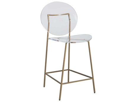Gabby Home Sandy Clear Acrylic, Antique Gold Side Counter Height Stool GASCH160350
