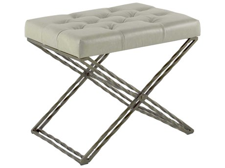 Gabby Home Scott Light Gray Leather, Brushed Brass Accent Stool