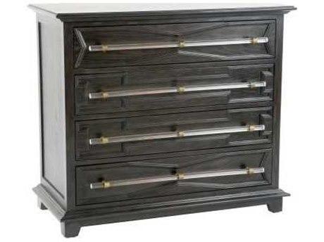 Gabby Home Waxed Ebony / Clear Acrylic Antique Brass Four-Drawer Hazel Single Dresser
