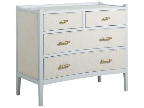 Gabby Home Soft Sky Blue / Natural Seagrass Satin Gold Four-Drawer Jane Single Dresser