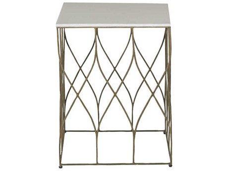 Gabby Stratton White Faux Horn with Antique Brass 20'' Wide Square End Table GASCH151050