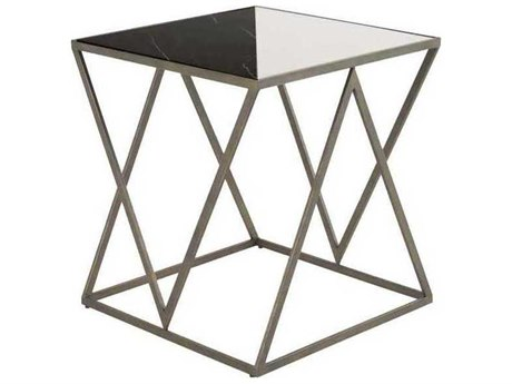 Gabby Taylor Black White Marble & Brushed Copper 22'' Wide Square End Table GASCH158180