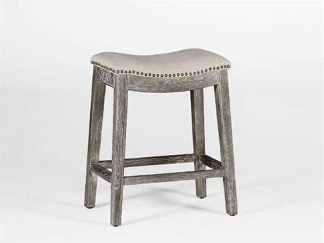 Gabby Vivian Burnished Oak & Sunbrella Linen Dove Counter Stool GASCH575S300F03