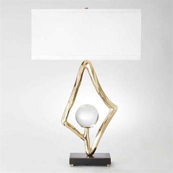 Global Views Abstract Brass Two-Light Buffet Lamp with Crystal Sphere GV992511