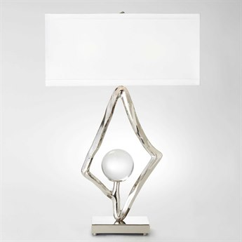 Global Views Abstract Nickel Two-Light Buffet Lamp with Crystal Sphere GV992529