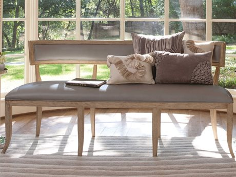 Global Views Sandblasted Wood With Putty Wash And Matte Lacquer Accent Bench