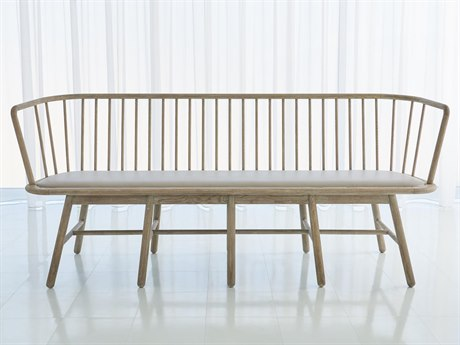 Global Views Wire Brushed Grey Oak Accent Bench