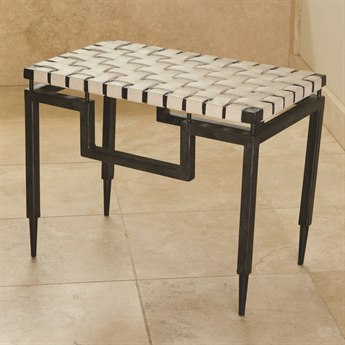 Global Views Black Powder Coat Accent Bench