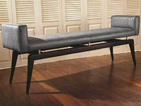 Global Views Ebony Lacquer / Polished Nickel Accent Bench