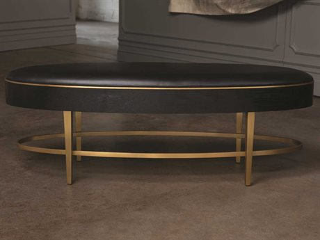 Global Views Black Lacquer 30 Sheen / Brushed Brass Accent Bench