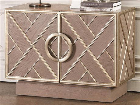 Global Views Grey / Silver Leaf Fret Brushed Antique Nickel Accent Chest