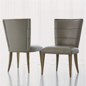 Global Views Adelaide Grey Leather Dining Side Chair GV720095