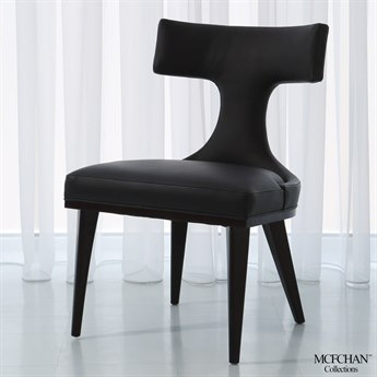 Global Views Anvil Back Black Leather Dining Side Chair GVMC2510
