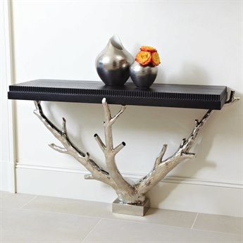 Global Views Branch Wall Nickel 53'' x 19.25'' Rectangular Console Table GV992245