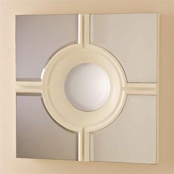 Global Views Bull's Eye Cross White 24'' Square Wall Mirror