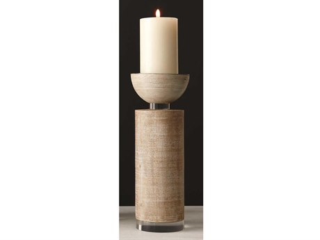 Global Views White Washed Candle Holder