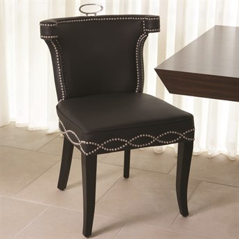 Global Views Casino Black Leather Dining Side Chair GV2264