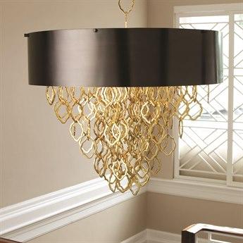 Global Views Chain Brass/Bronze Six-Light 36'' Wide Pendant GV992087