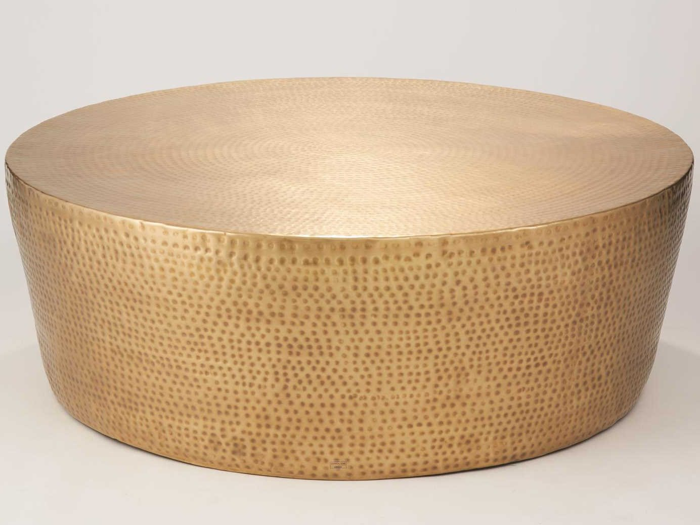 - Global Views Antique Brass 35'' Wide Round Coffee Table
